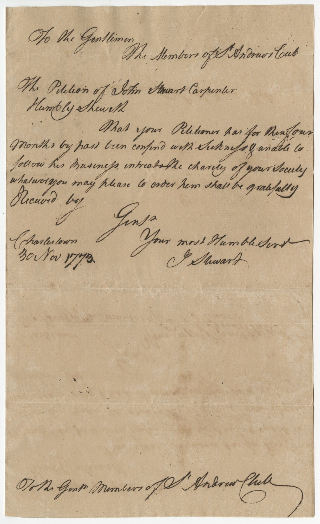 Petition from John Stewart to the St. Andrew's Society