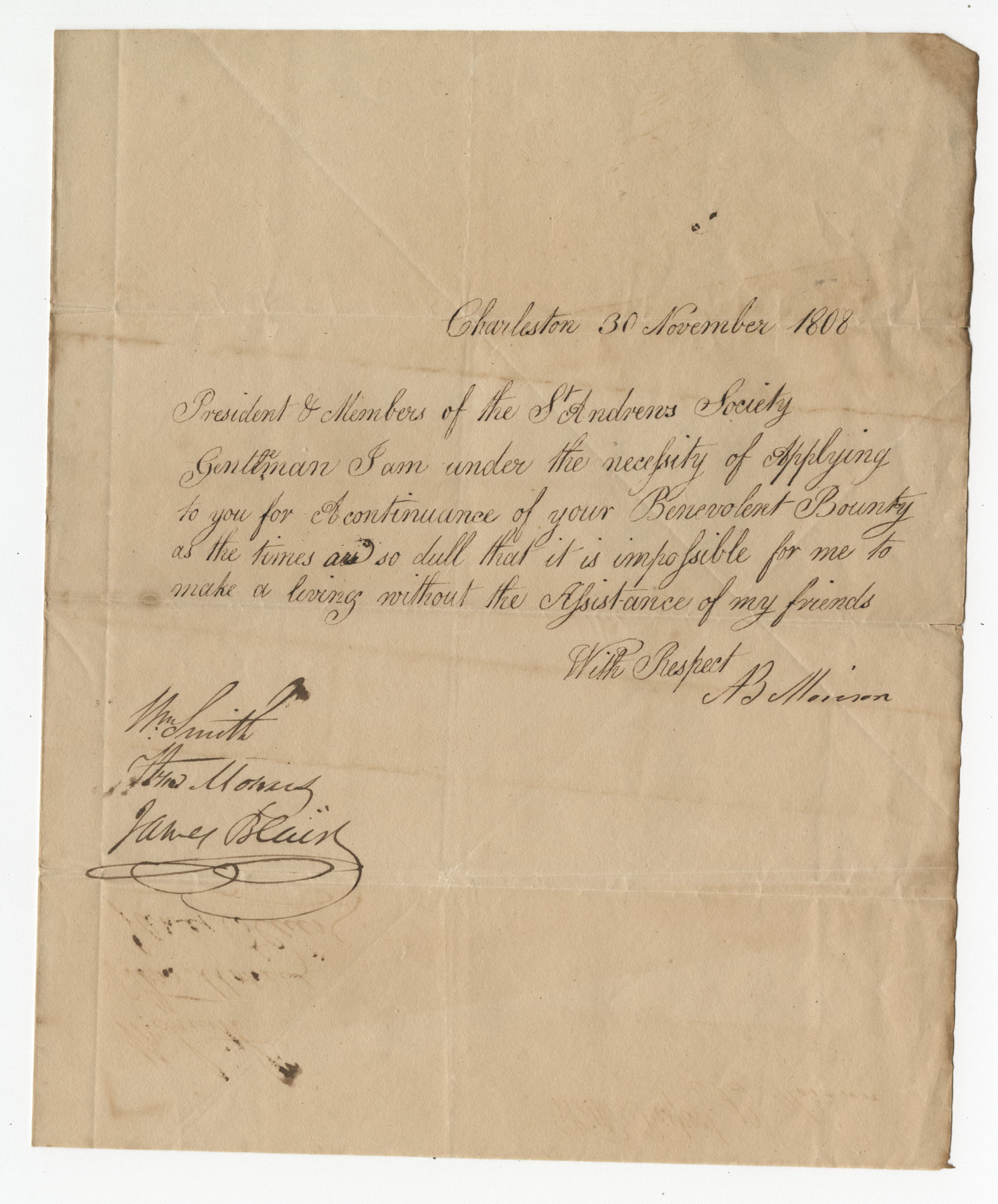 Petition from A. Morrison to the St. Andrew's Society