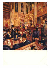 Synagogedienst ter gelegenheid van het 300-jarig bestaan van de hoogduitse Gemeente in Amsterdam, in 1935. Martin Monnickendam (1874-1943), pastel en gouache; 1935 / Synagogue service commemorating the 300th anniversary of the Ashkenazic Community of Amsterdam, in 1935. Martin Monnickendam (1874-1943), pastel and gouache