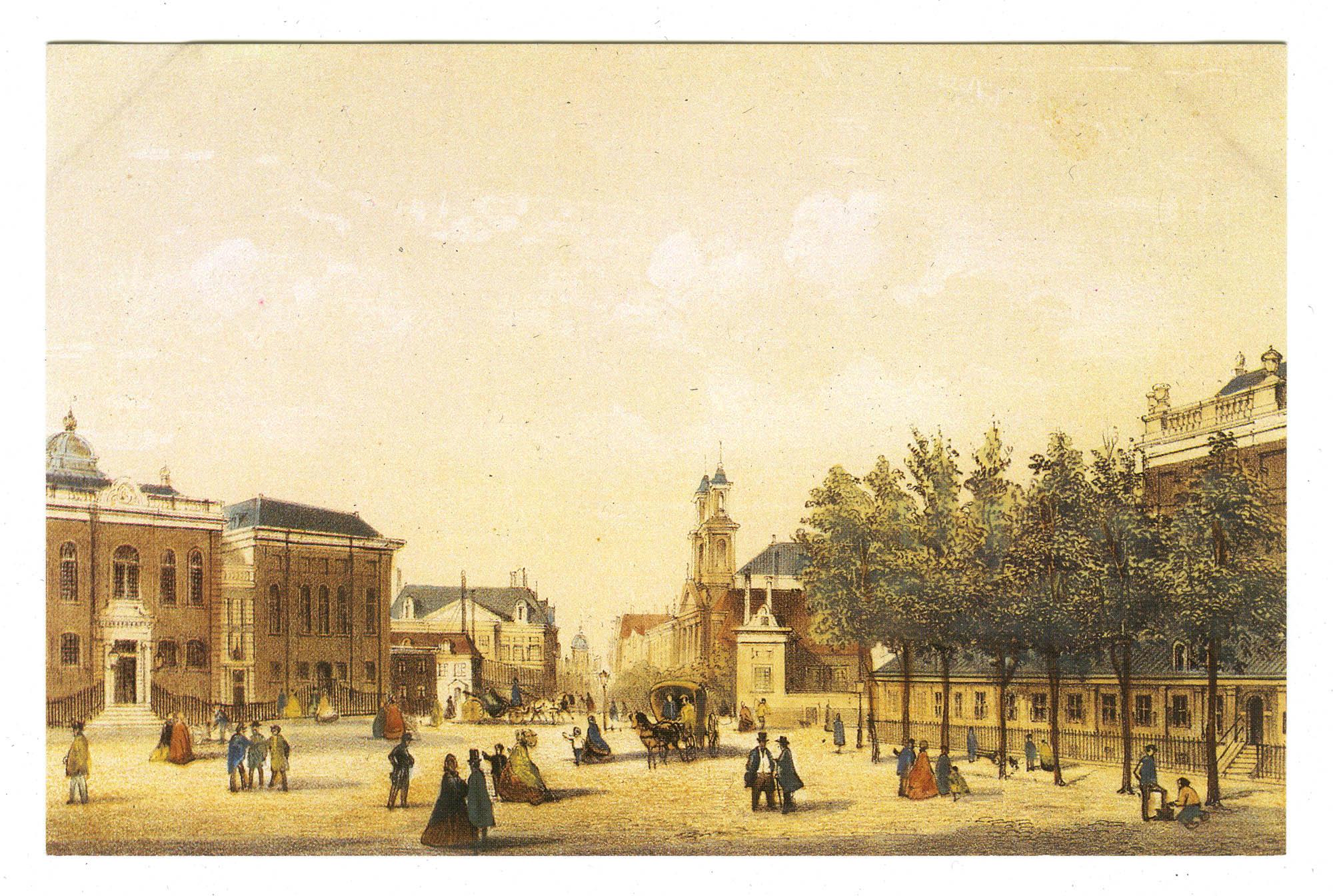 Deventer Houtmarkt, de Israëlitische synagogen. Willem Hekking jr. (1825-1904), kleurenlitho; 1861 / Deventer Houtmarkt, the Jewish synagogues. Willem Hekking jr. (1825-1904), chromolithography
