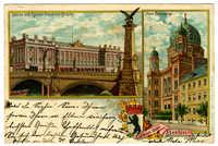 Gruss aus Berlin. Börse mit Kaiser Friedrich-Brücke. Neue Synagoge.