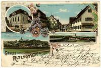 Gruss aus Altenstadt a./Iller. Totalansicht von Altenstadt u. Illereichen. Synagoge. Strasse in Altenstadt. Schuhleistenfabrik.