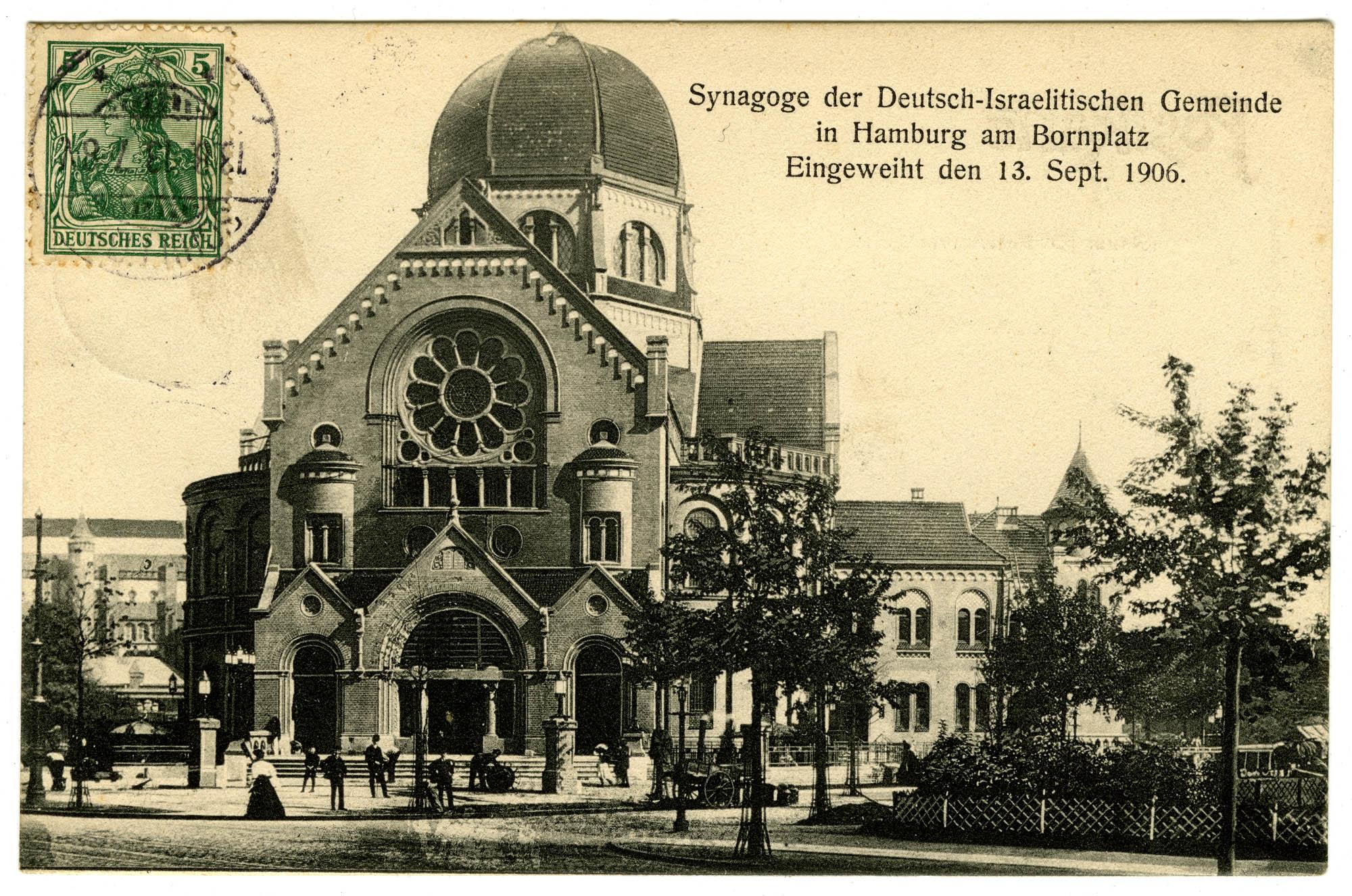 Synagoge der Deutsch-Israelitischen Gemeinde in Hamburg am Bornplatz. Eingeweiht den 13. Sept. 1906.