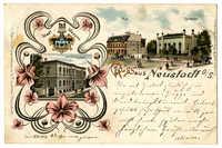 Gruss aus Neustadt O./S. Landrathsamt. Post. Synagoge.