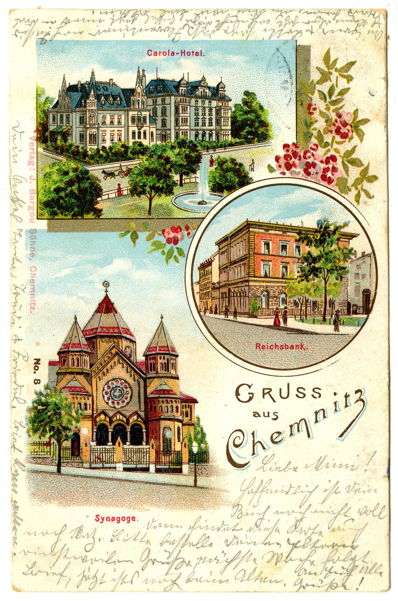 Gruss aus Chemnitz. Carola-Hotel. Reichsbank. Synagoge.