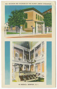 Interior and exterior of the oldest Jewish synagogue in America, Newport, R.I.