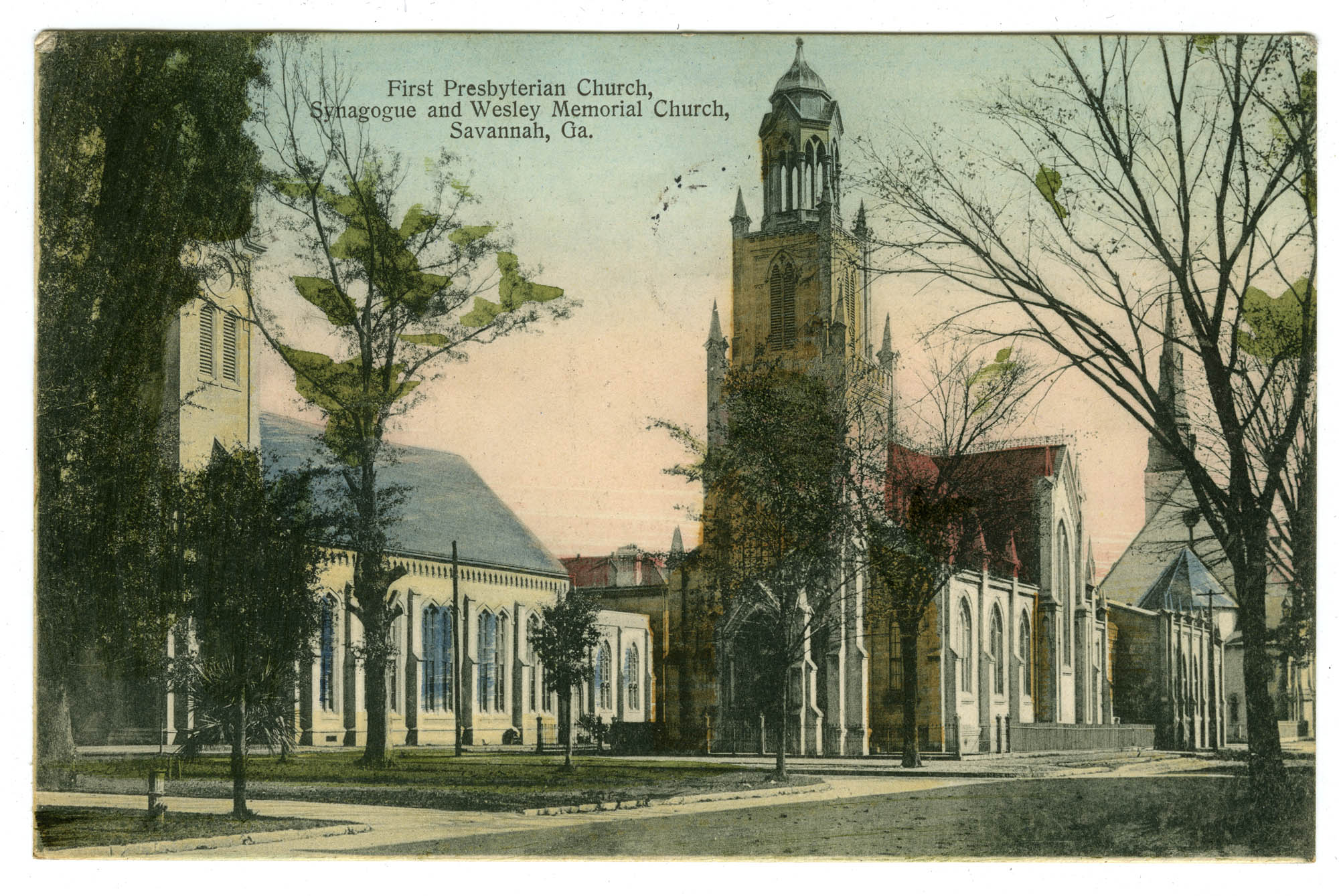 First Presbyterian Church, Synagogue and Wesley Memorial Church, Savannah, Ga.