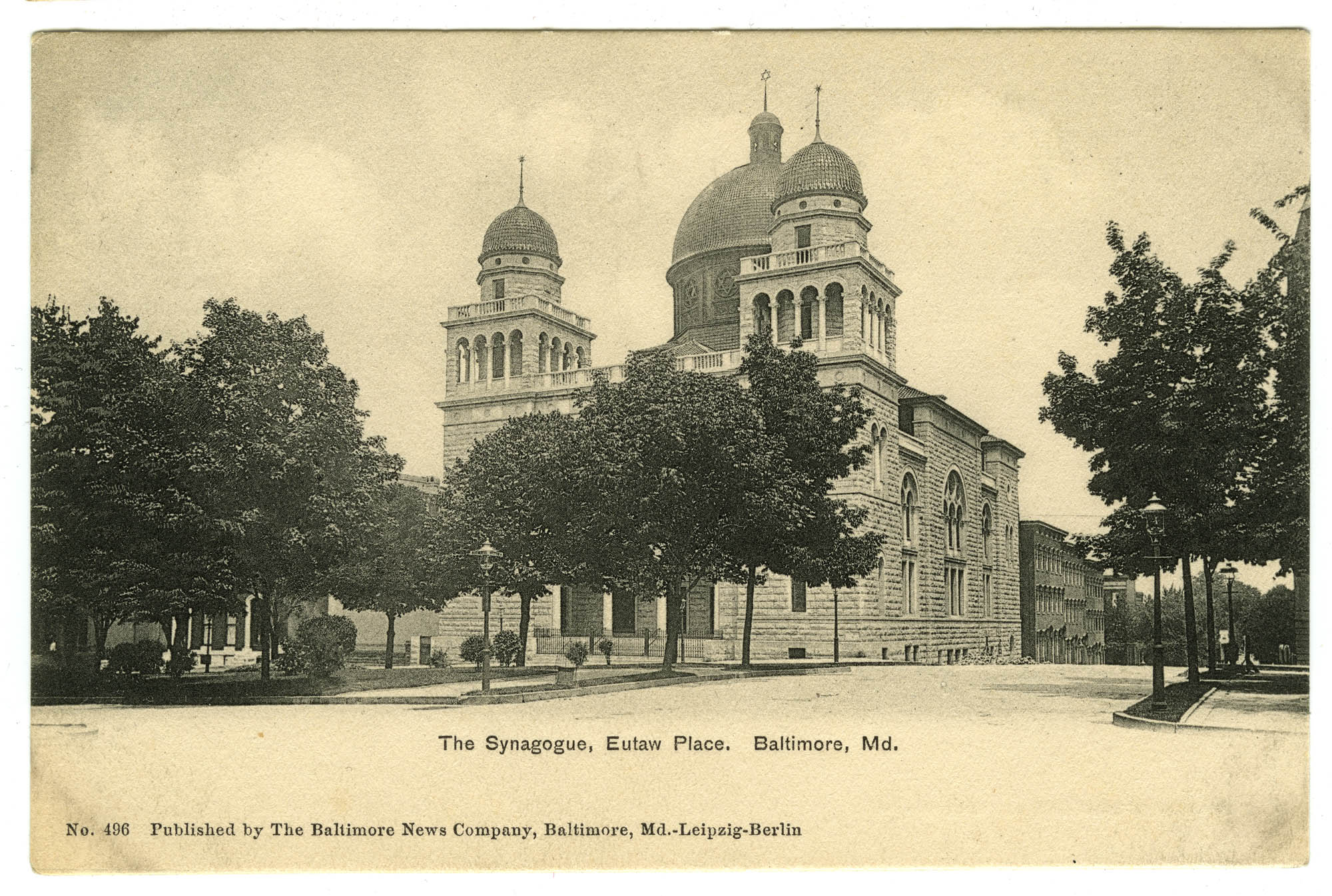 The Synagogue, Eutaw Place. Baltimore, Md.