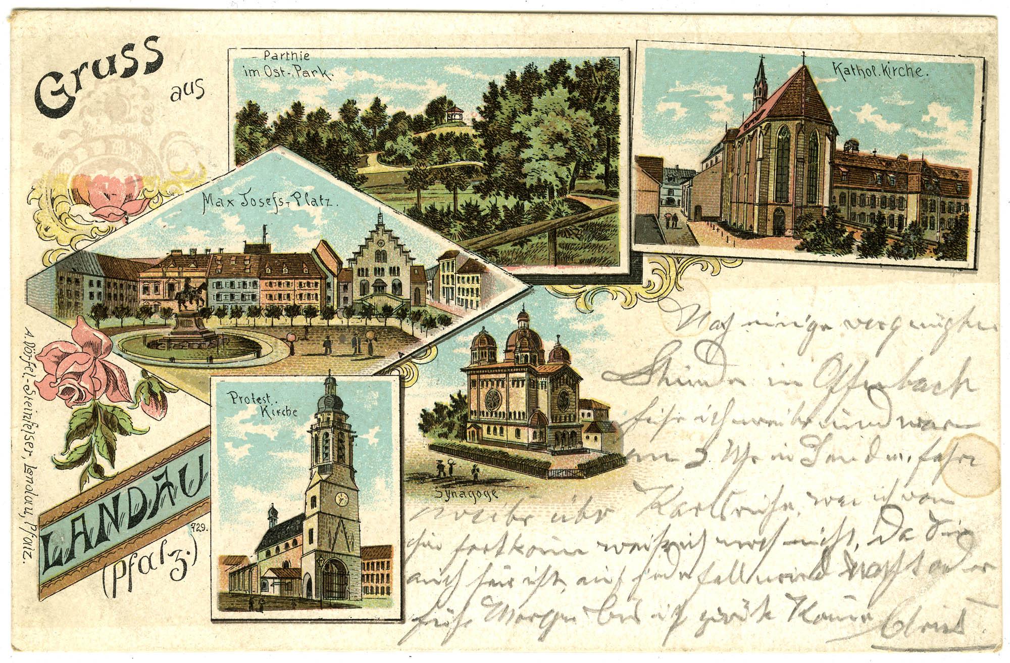 Gruss aus Landau (Pfalz). Parthie im Ost. Park. Kathol. Kirche. Max Josefs-Platz. Protest. Kirche. Synagoge.
