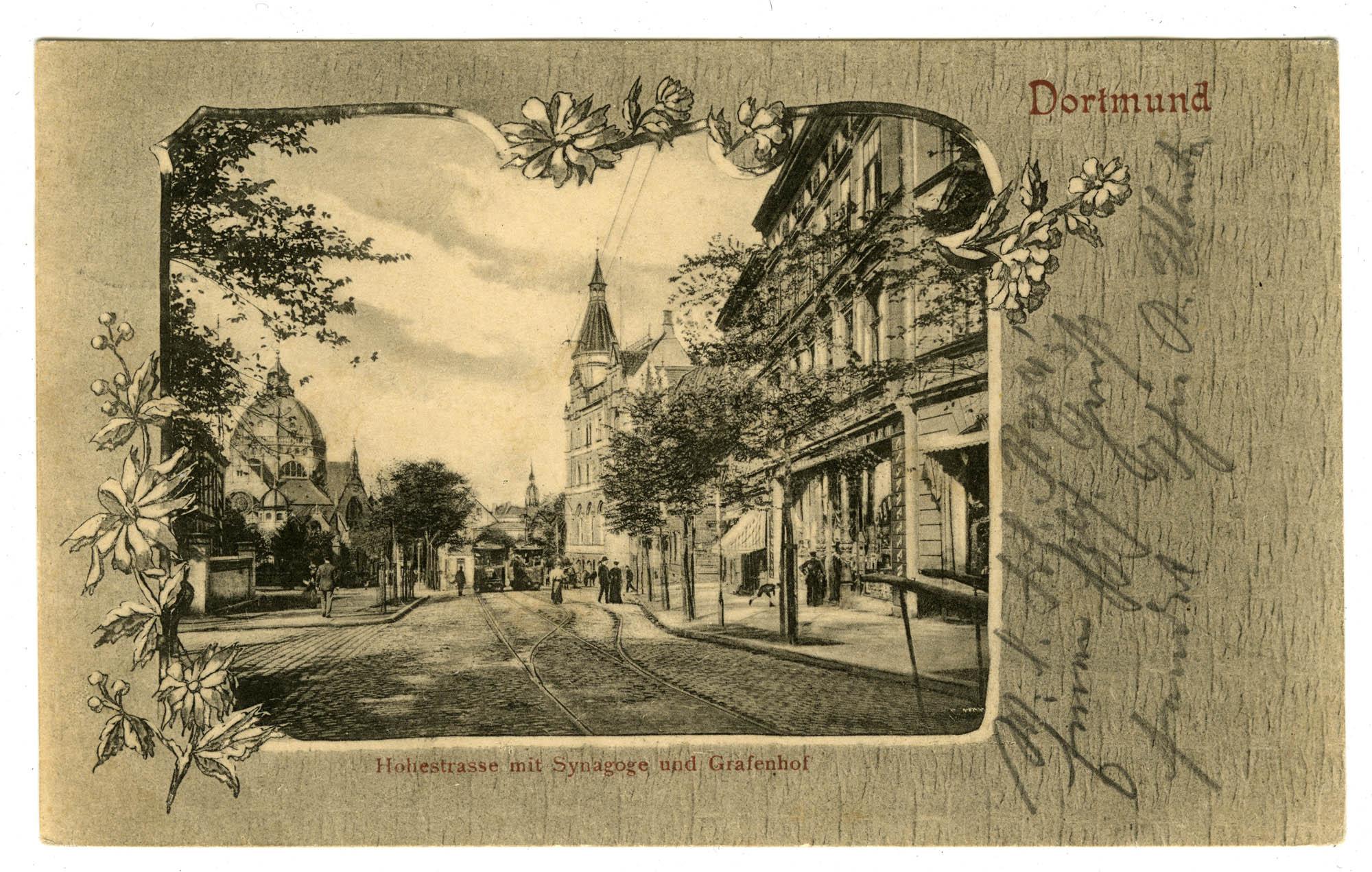 Dortmund, Hohestrasse mit Synagoge und Grafenhof
