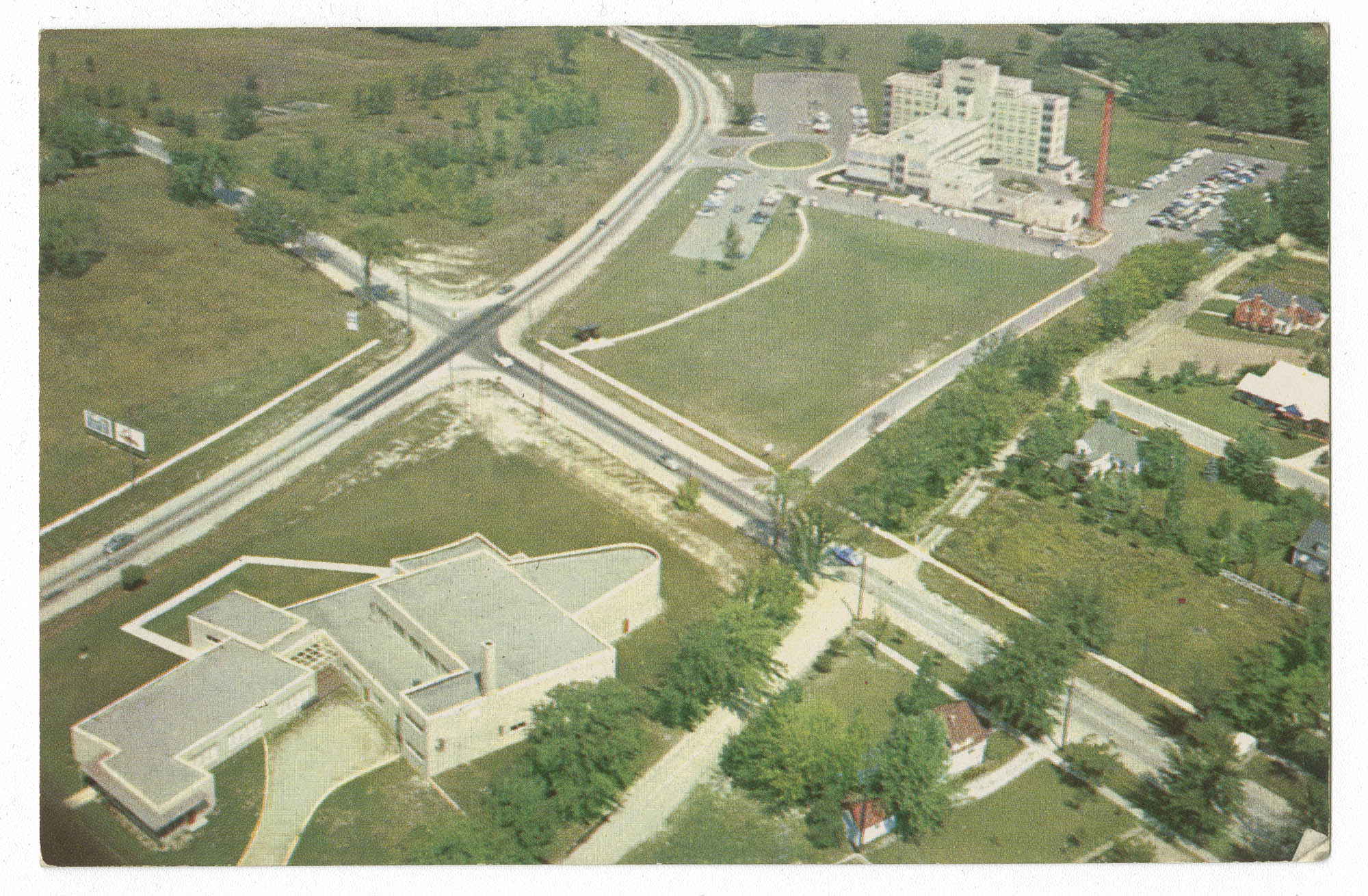 Aerial view of McLaren General Hospital and Temple Beth El, Flint, Michigan