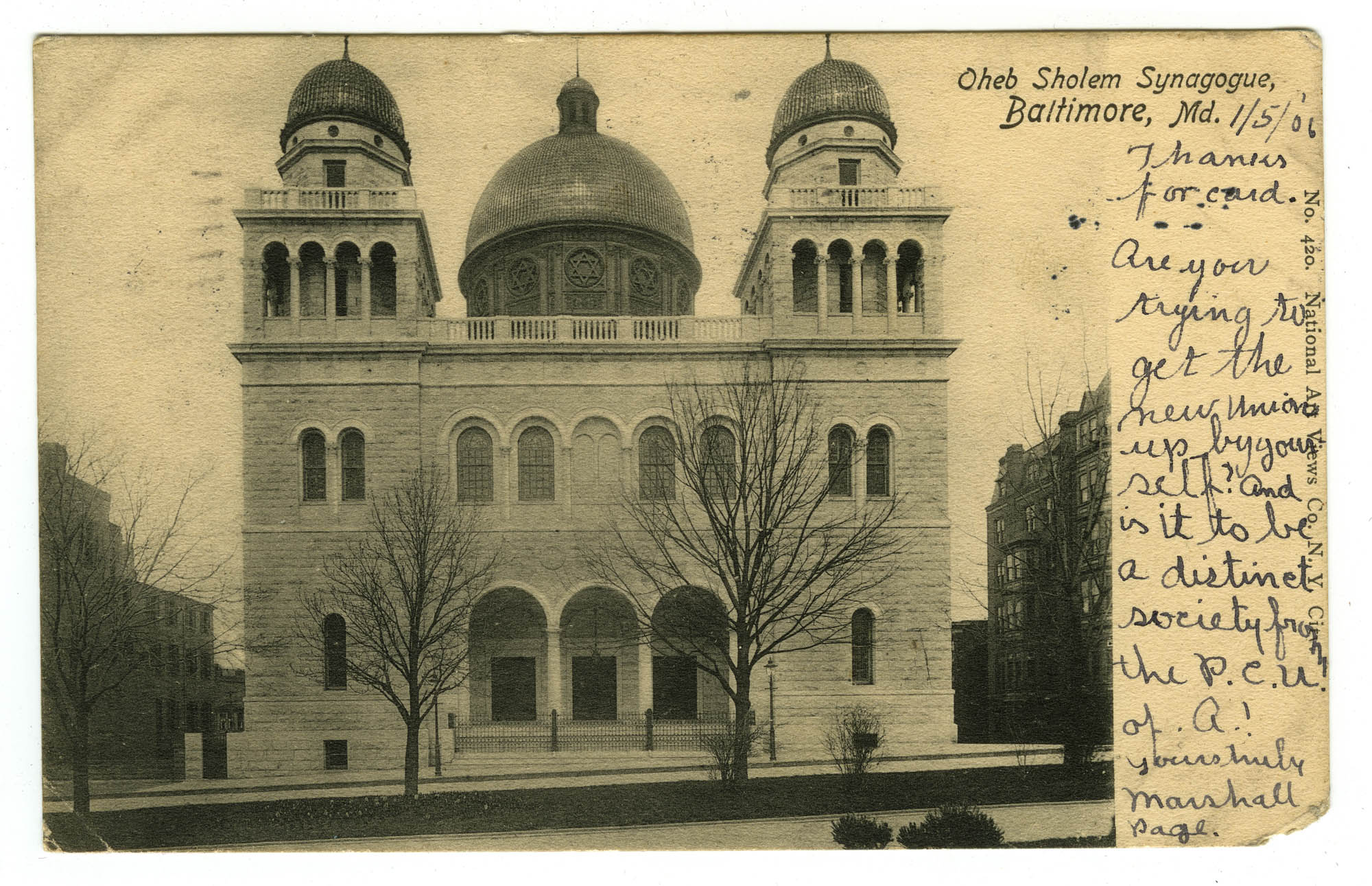 Oheb Sholem Synagogue, Baltimore, Md.
