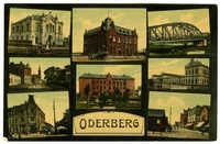 Oderberg. Stefaniestrasse. Evang. Kirche. Synagoge. Rathaus. Klosterschule. Franz-Josef-Brücke. Bahnhofsgebäude. Franz-Josef-Strasse.