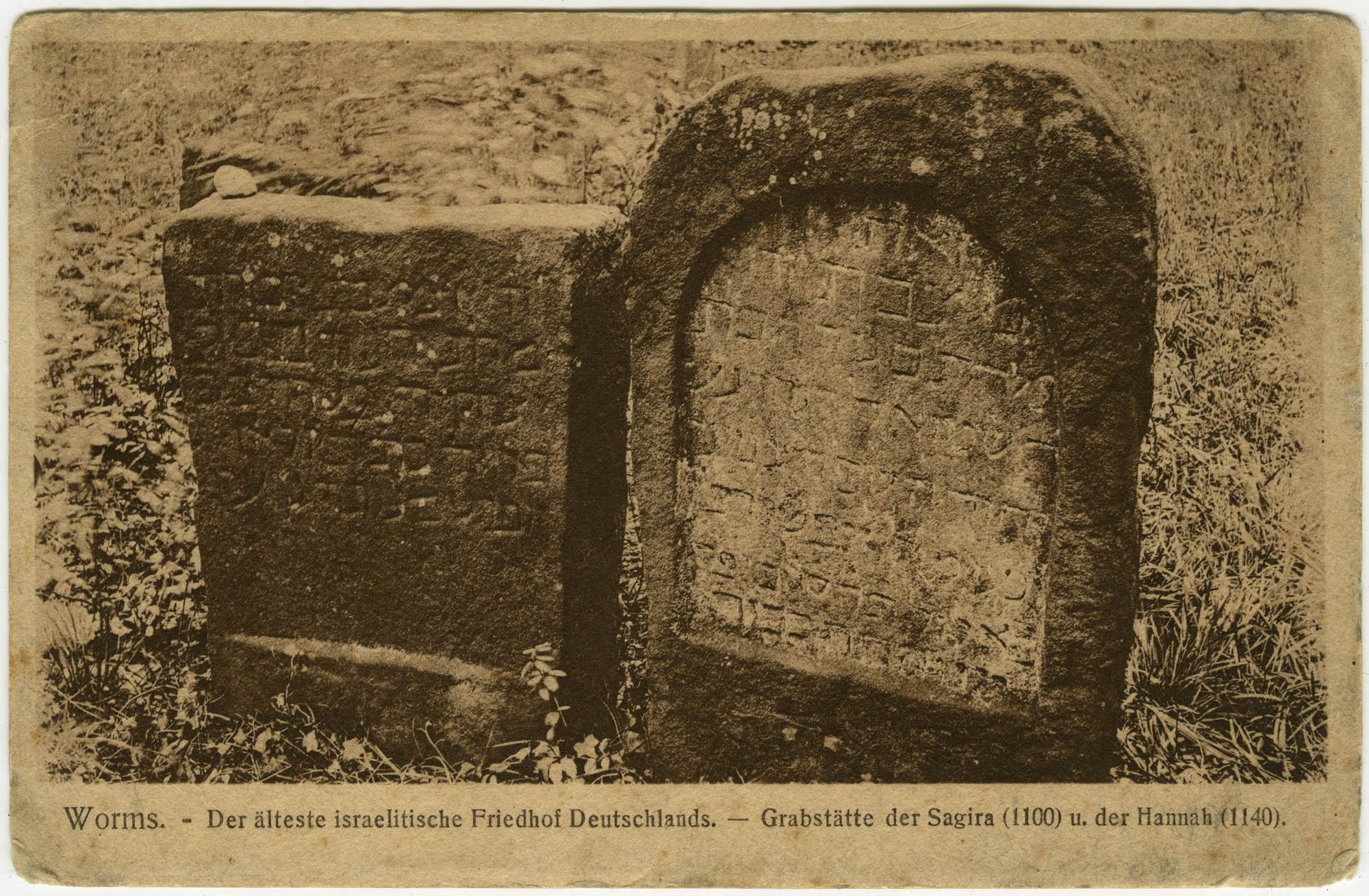 Worms. - Der älteste israelitische Friedhof Deutschlands. - Grabstätte der Sagira (1100) u. der Hannah (1140).
