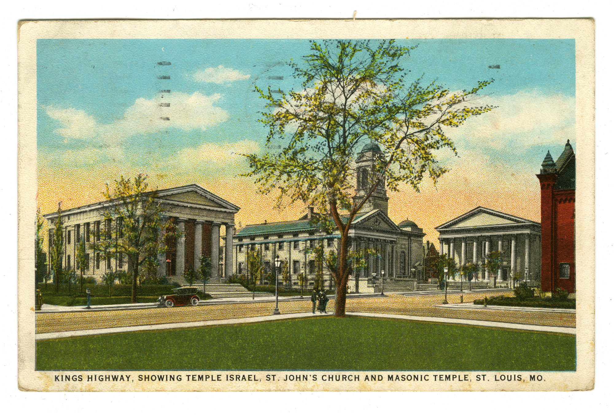 Kings Highway, showing Temple Israel, St. John's Church and Masonic Temple, St. Louis Mo.