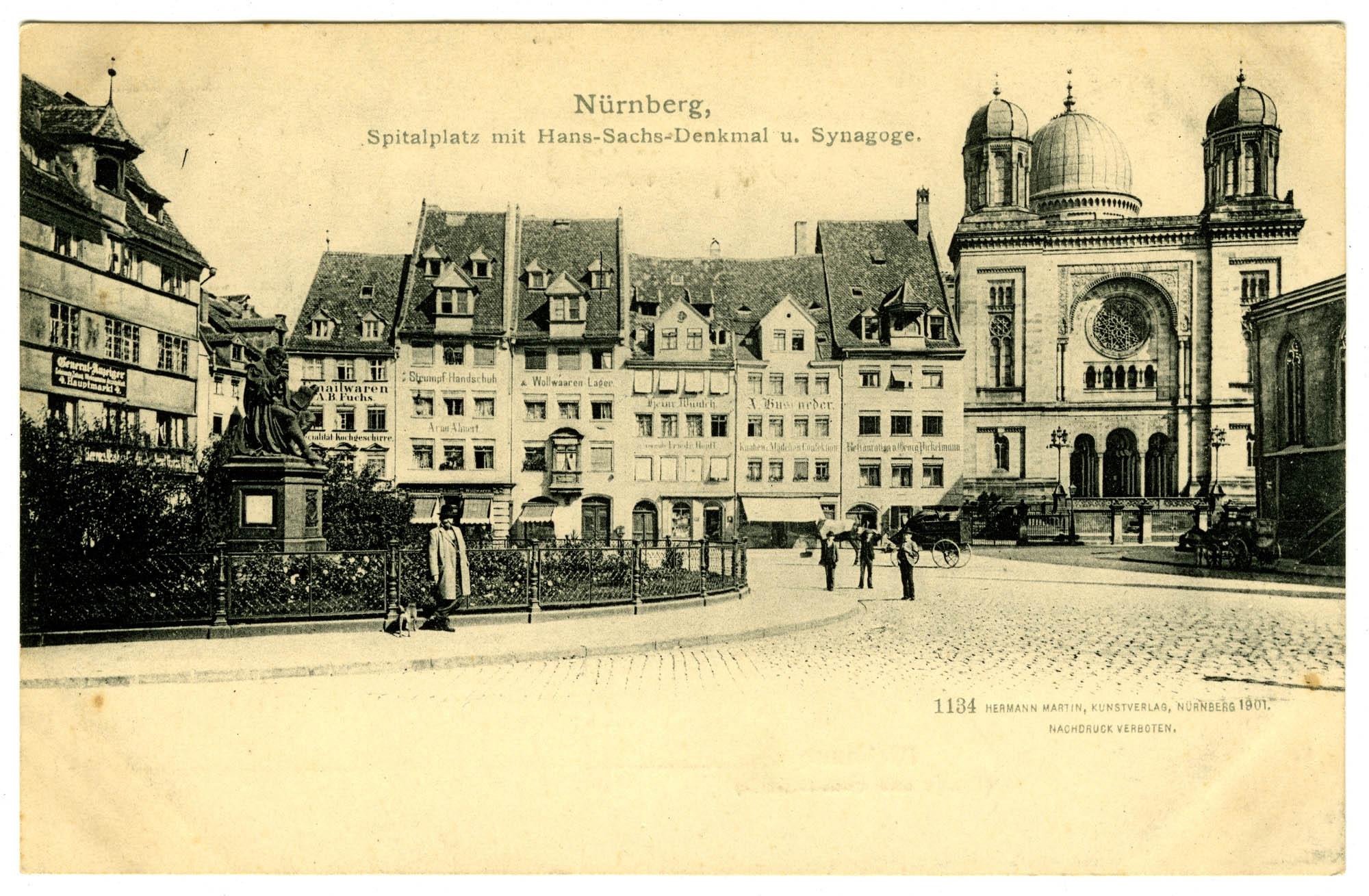 Nürnberg, Spitalplatz mit Hans-Sachs-Denkmal u. Synagoge.