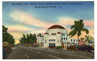 Washington Ave. looking North showing Miami Beach Jewish Center, Miami Beach, Florida