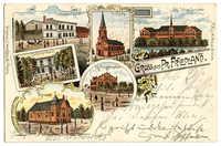 Gruss aus Pr. Friedland. Synagoge. Schützenhaus. Schliewes Hotel. Ev. Kirche. Kgl. Progymnasium. Kgl. Lehrer Seminar.