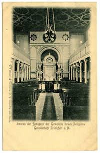 Inneres der Synagoge der Gemeinde Israel. Religions-Gesellschaft Frankfurt a.M.