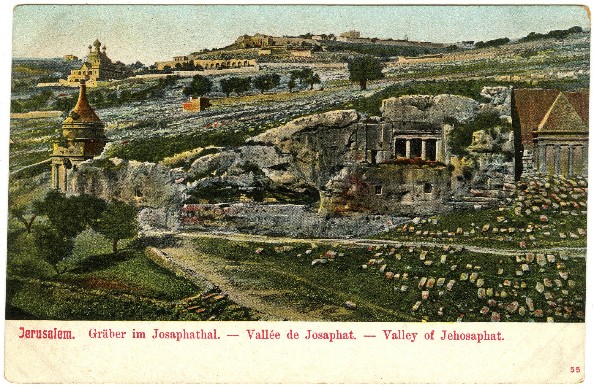 Jerusalem. Gräber im Josaphathal. / Vallée de Josaphat. / Valley of Jehoshaphat.