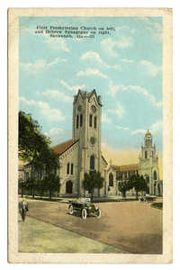 First Presbyterian Church on left, and Hebrew Synagogue on right, Savannah, Ga.