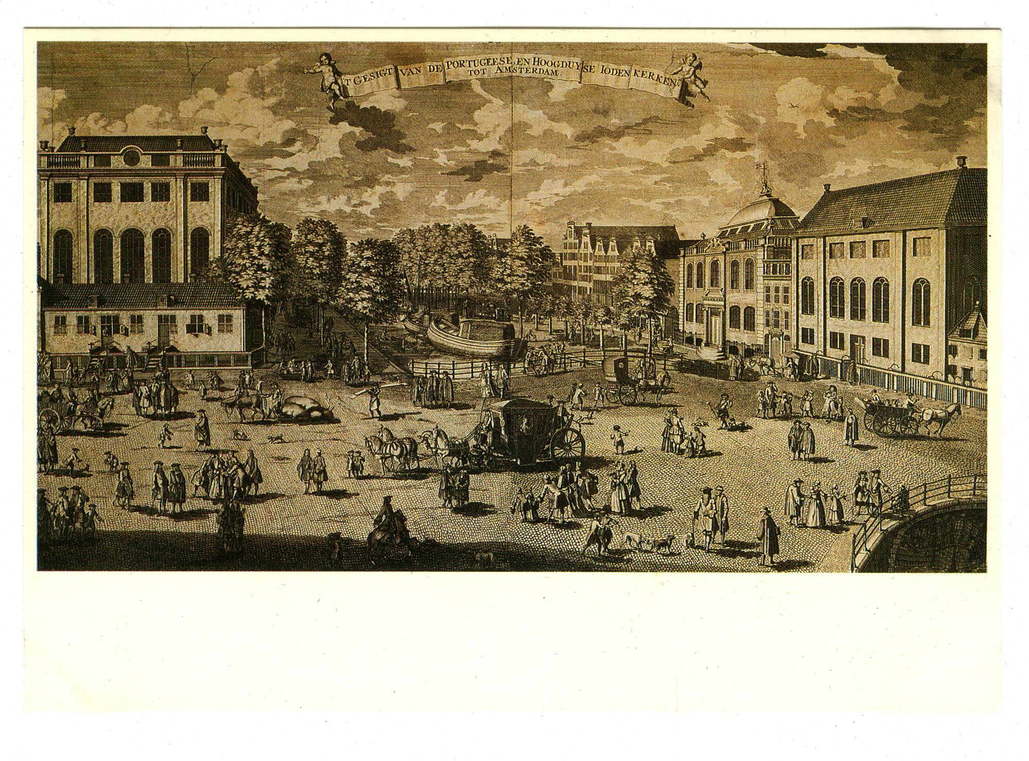 Adolf van der Laan (1684-na/after 1755). De Portugese en Hoogduitse synagogen, gravure / The Portuguese and Ashkenazic synagogues, engraving, 1710-1752