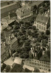 Ghetto v Langweilově modelu města Prahy z roku 1836