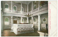 Interior of Jewish synagogue Touro St., Newport, R.I. Oldest Hebrew church in America.