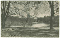 View in Central Park showing Temple Bethel. New York City, N.Y.