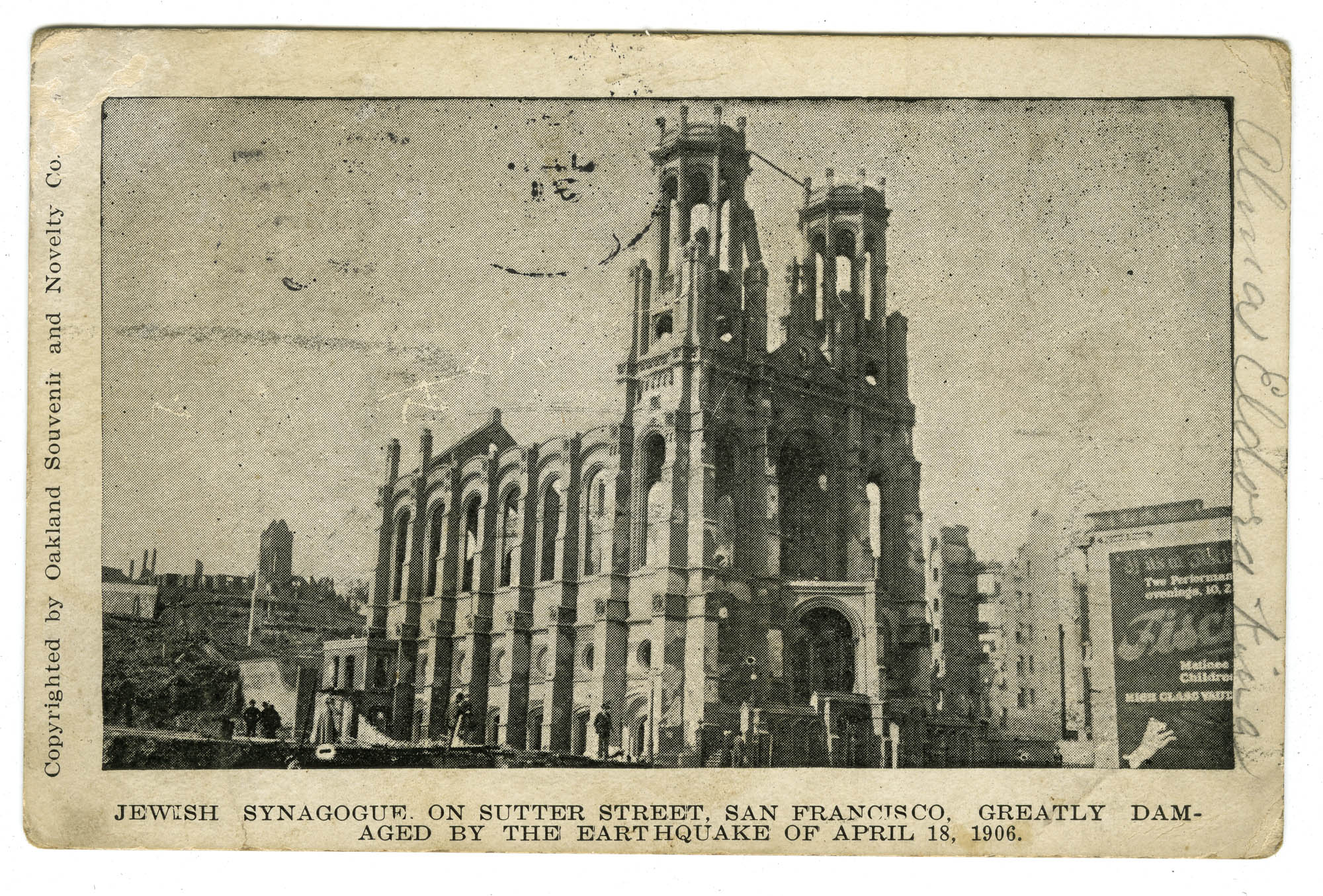 Jewish synagogue on Sutter Street, San Francisco, greatly damaged by the earthquake of April 18, 1906