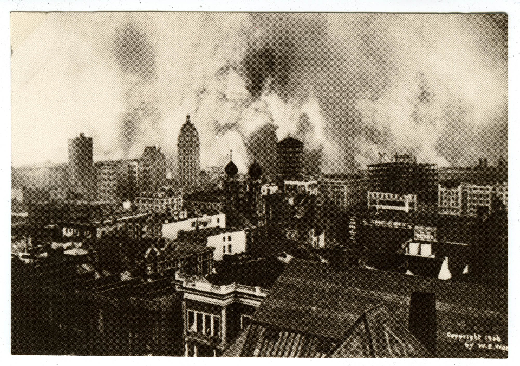 Downtown San Francisco aflame, earthquake and fire of 1906