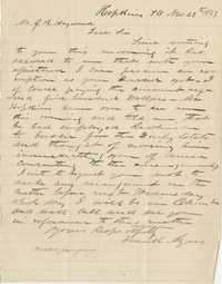 206. Frank Myers to James B. Heyward -- November 28, 1863 (second letter)