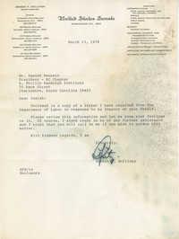 Letter from Senator Ernest F. Hollings to Isaiah Bennett