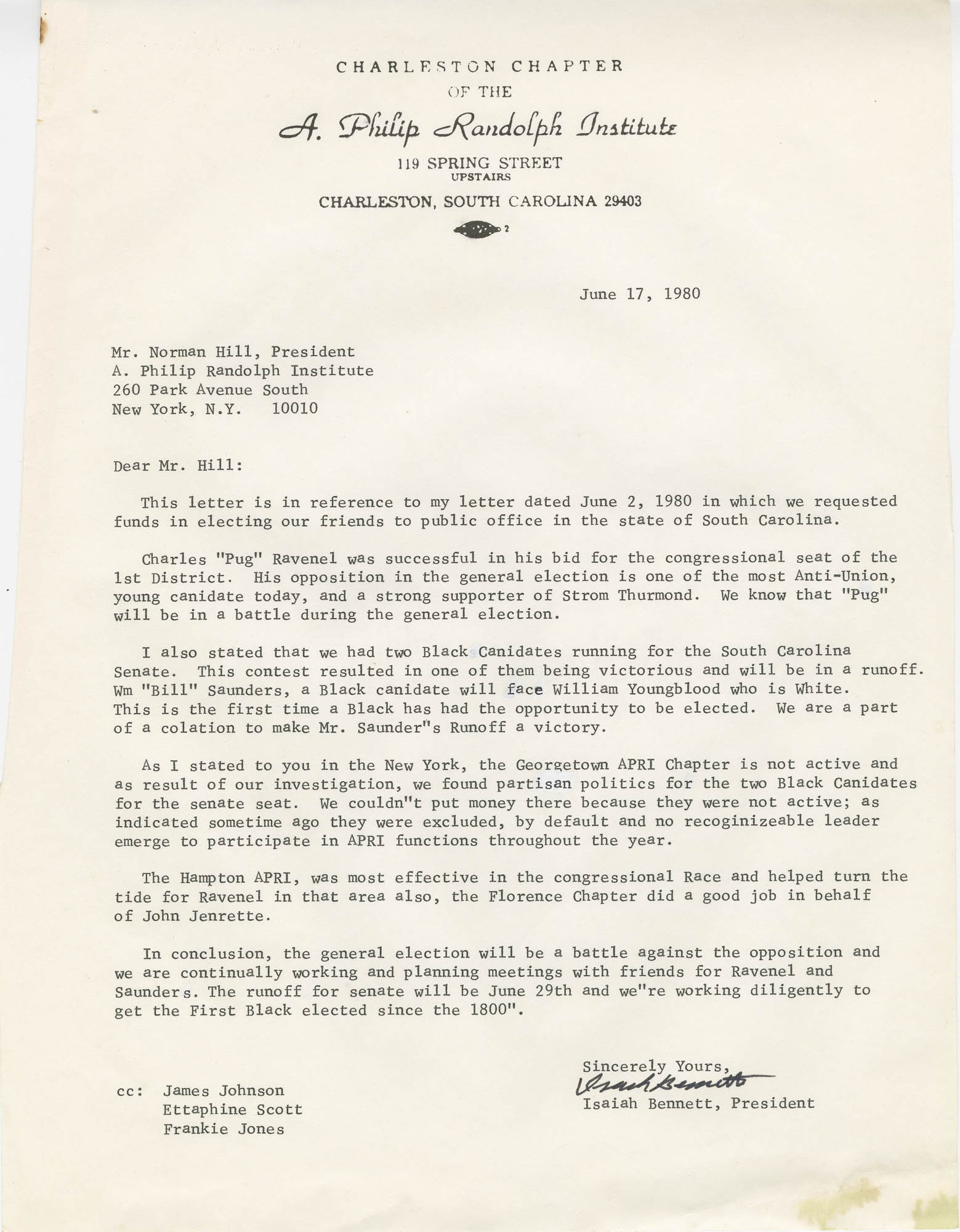Letter from Isaiah Bennett to Norman Hill, President of A. Philip Randolph Institute, detailing South Carolina chapter political activities