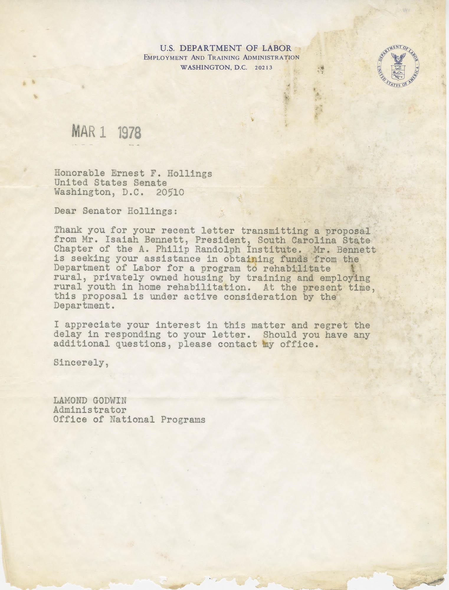 Letter from Lamond Godwin to Senator Ernest F. Hollings
