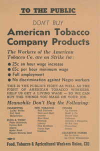 Publicity flyer asking the public to boycott American Tobacco Company products