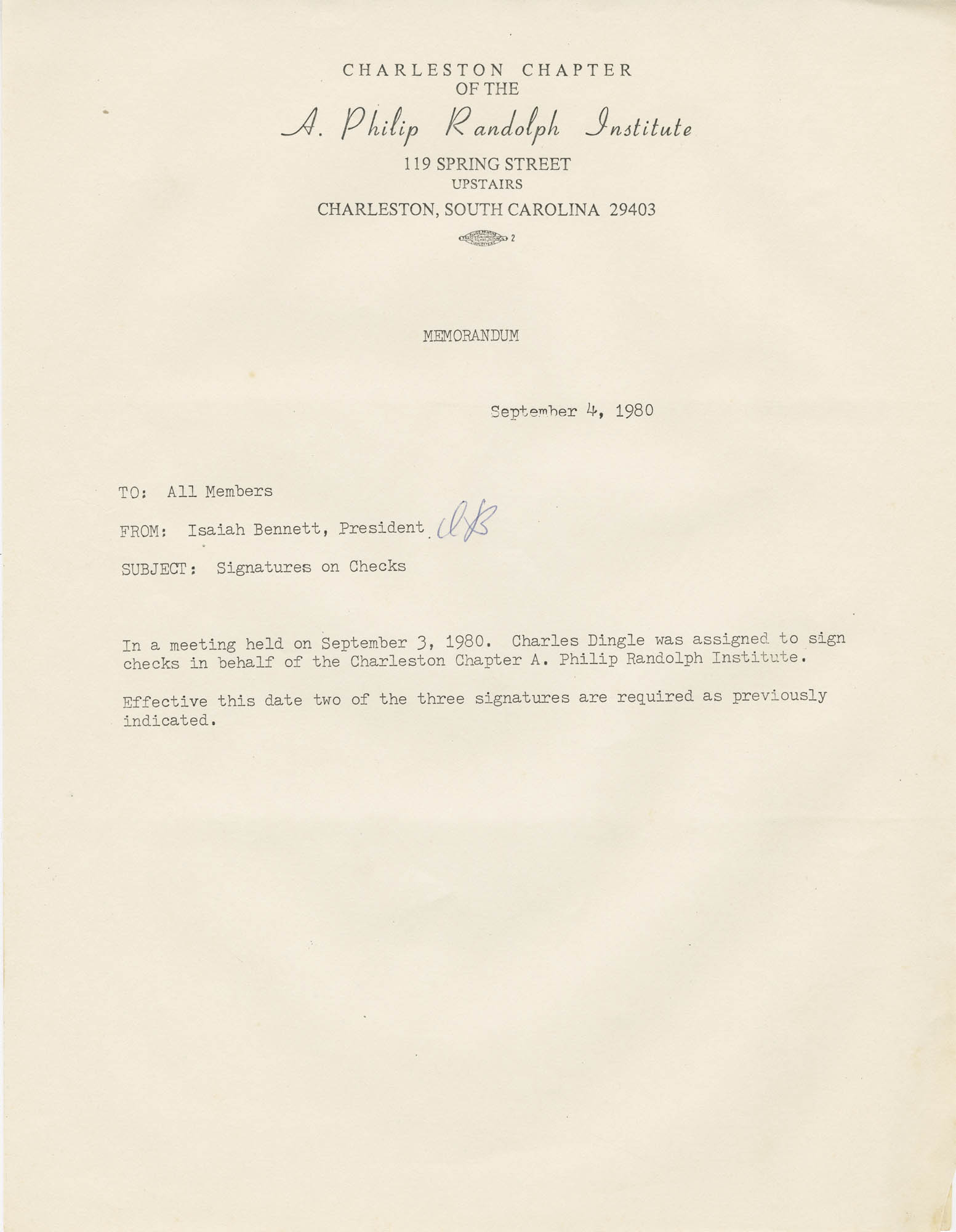 Memorandum granting Charles Dingle the ability to sign checks for the A. Philip Randolph Institute