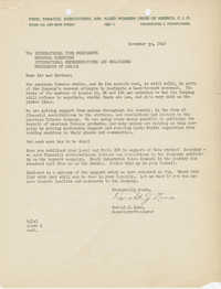 Letter to regional union administrators from Harold J. Lane, Secretary-Treasurer of Food, Tobacco, Agriculture and Allied Workers Union of America, CIO