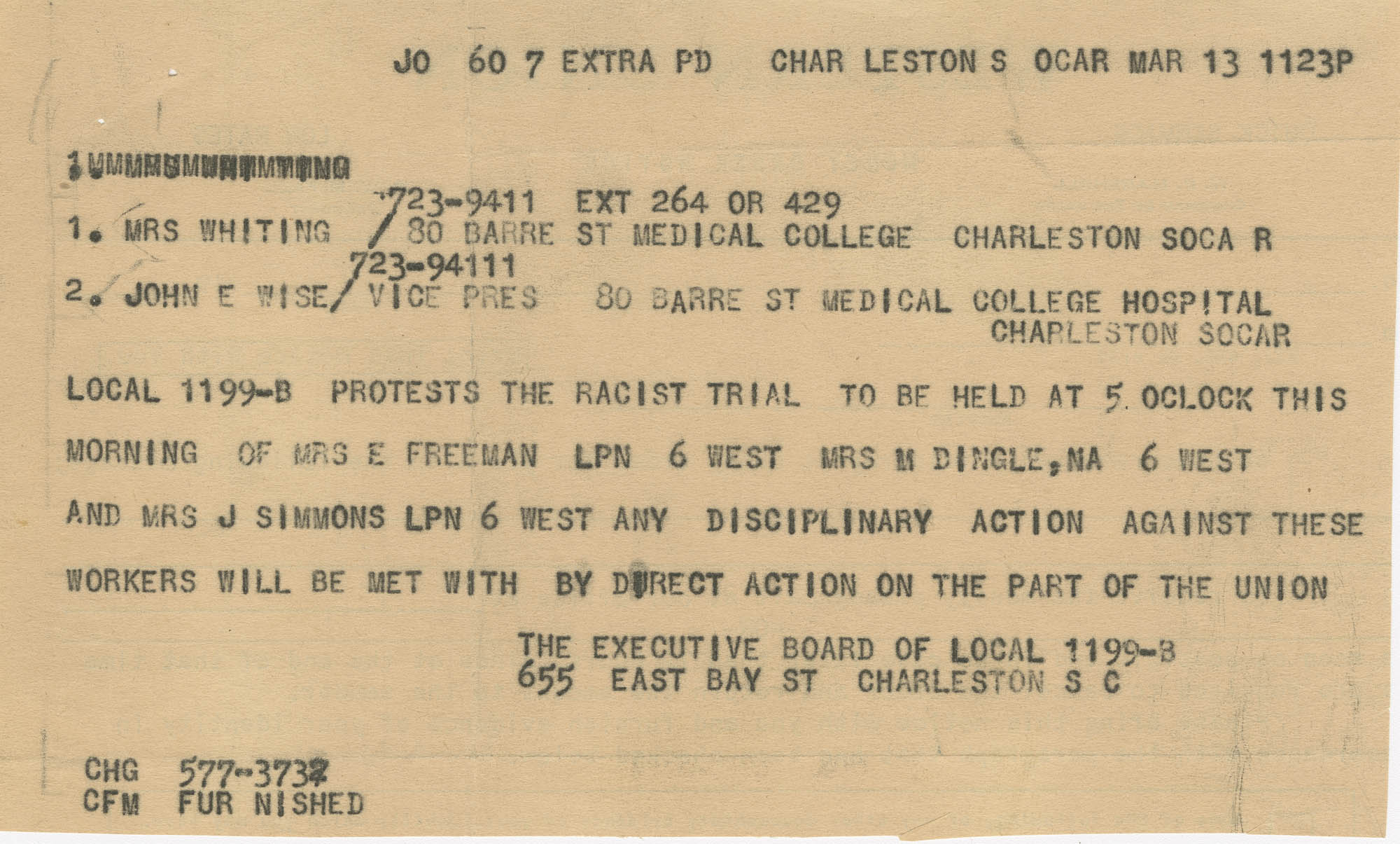 Telegram to Medical College administrators protesting trial of striking workers.