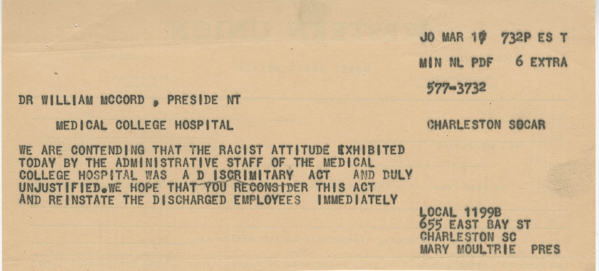 Telegram to Dr. William McCord from Local 1199-B protesting dismissal of employees