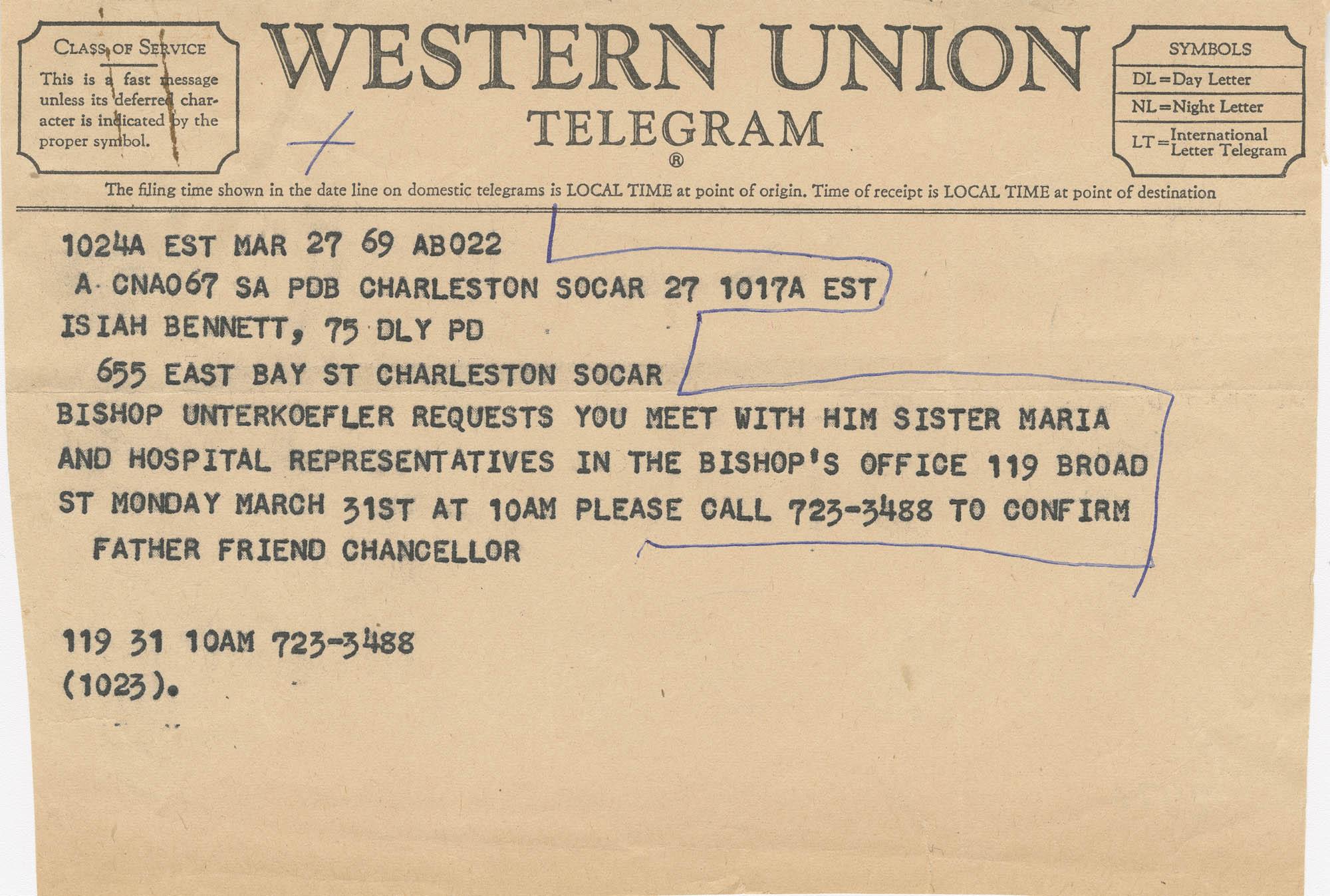Telegram requesting a meeting with Bishop Unterkoefler