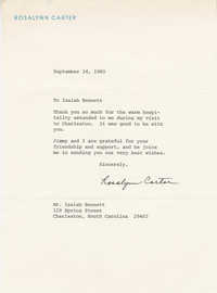 Letter from Rosalynn Carter to Isaiah Bennett thanking him for his hospitality during her visit to Charleston