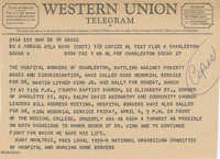 Telegram from Mary Moultrie announcing memorial service for Dr. Martin Luther King, Jr.