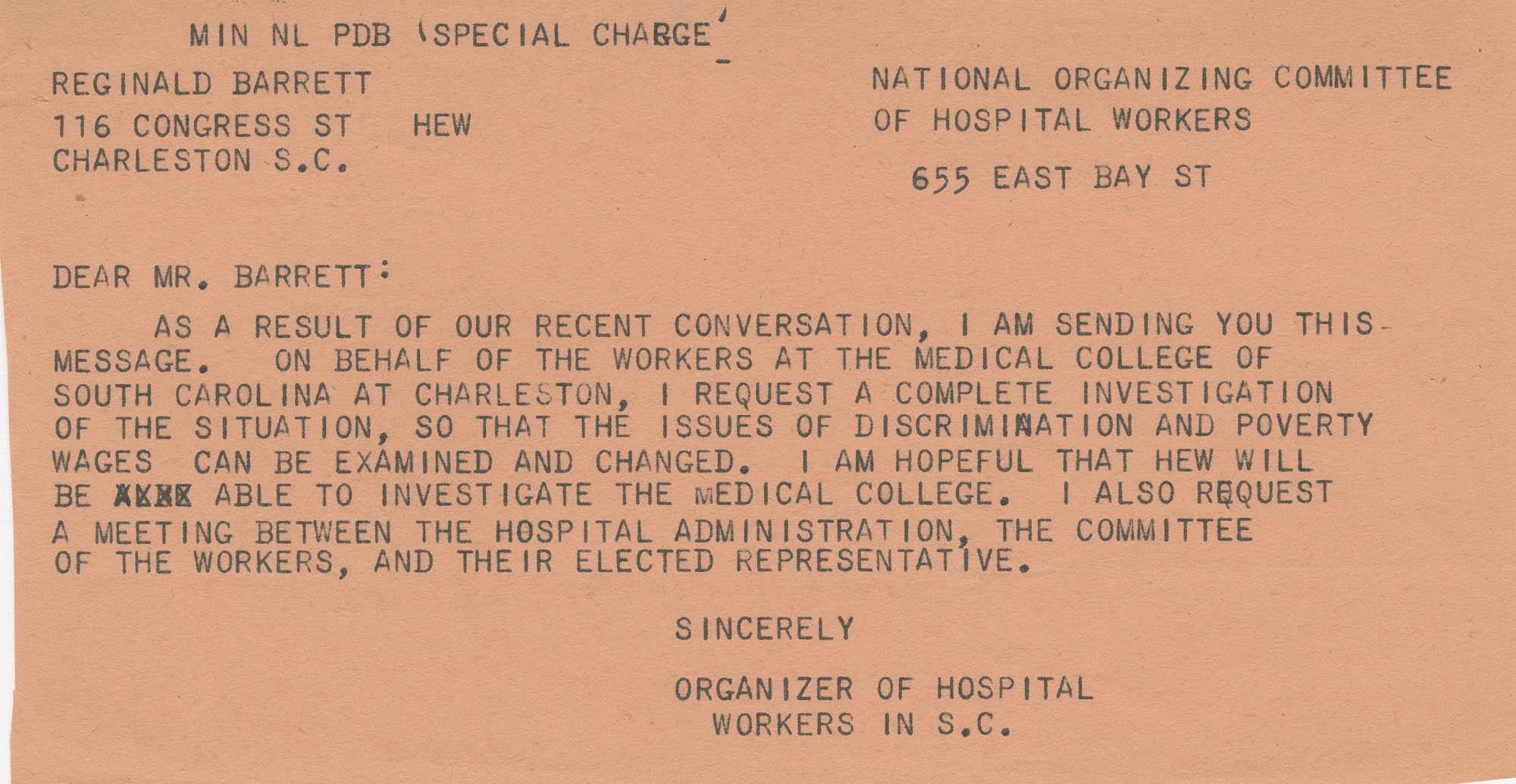 Telegram to Reginald Barrett from Isaiah Bennett