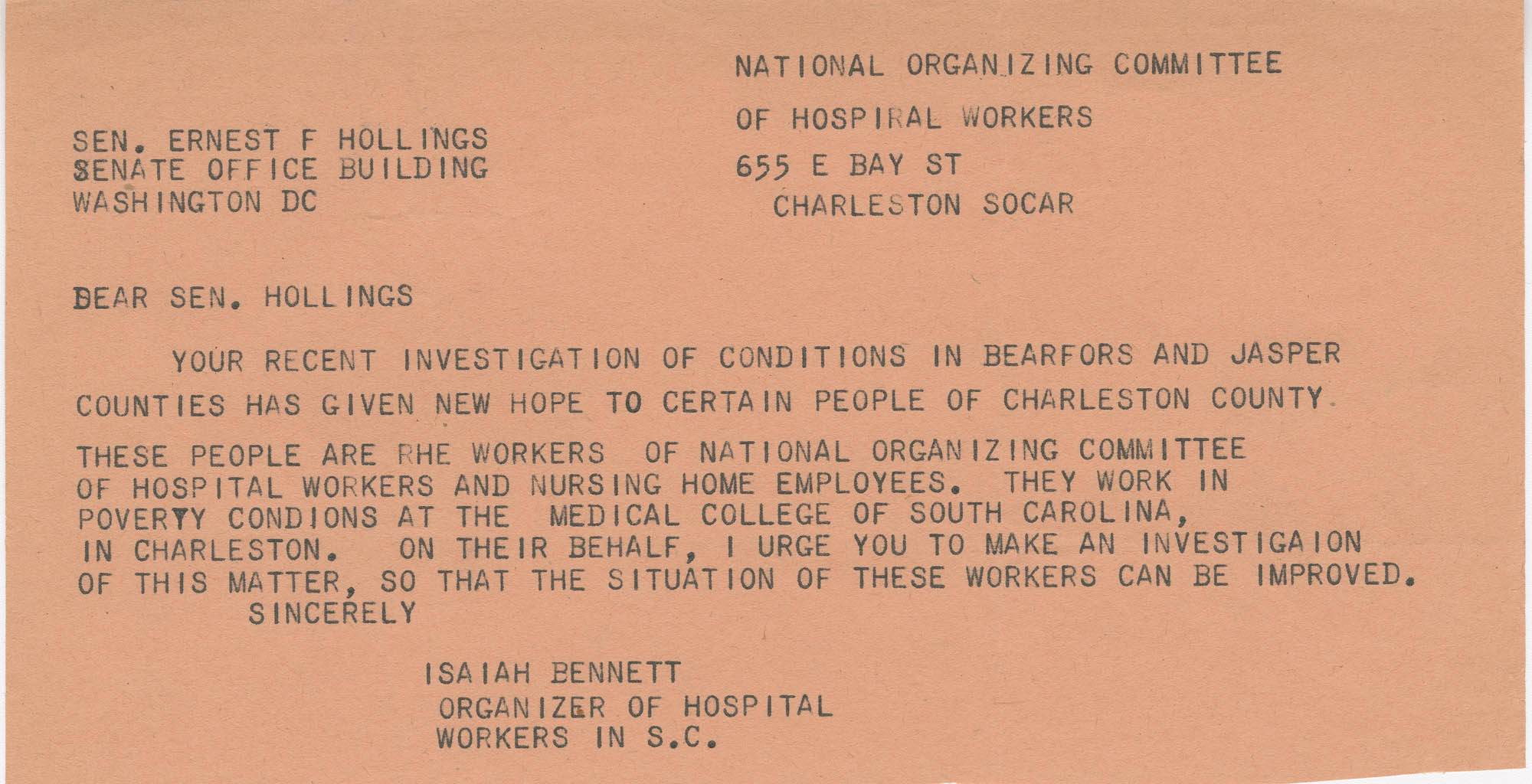 Telegram to Senator Ernest Hollings