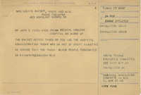Telegram to John E. Wise, Vice-President of the Medical College