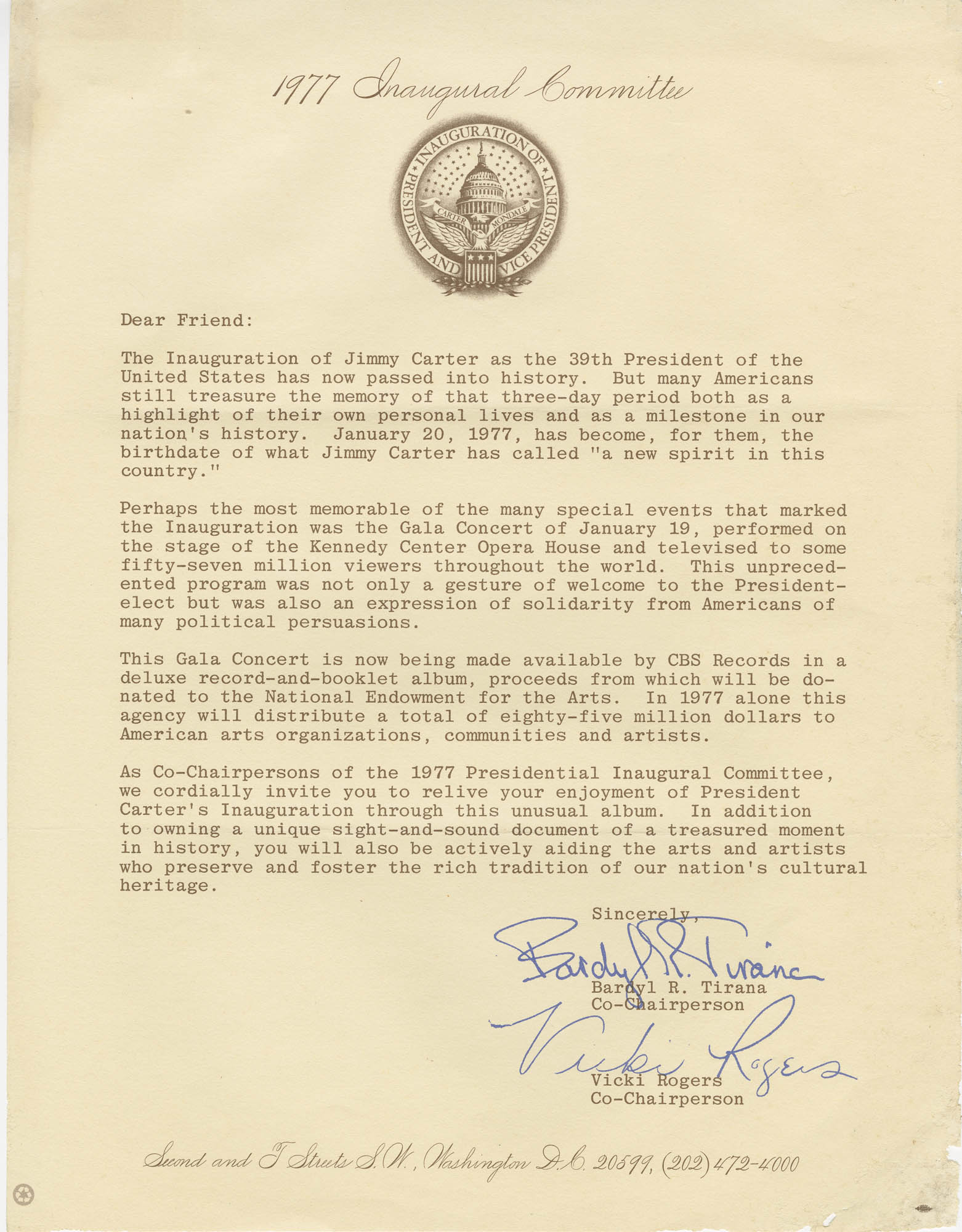 Form letter from 1977 Inaugural Committee to Friend