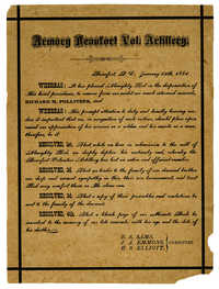Acknowledgement of Richard Pollitzer, noncommissioned officer's, death by the Armory Beaufort Voluntary Artillery