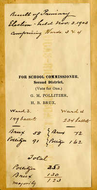 Vote ticket for School Commissioner, including Gustave Pollitzer