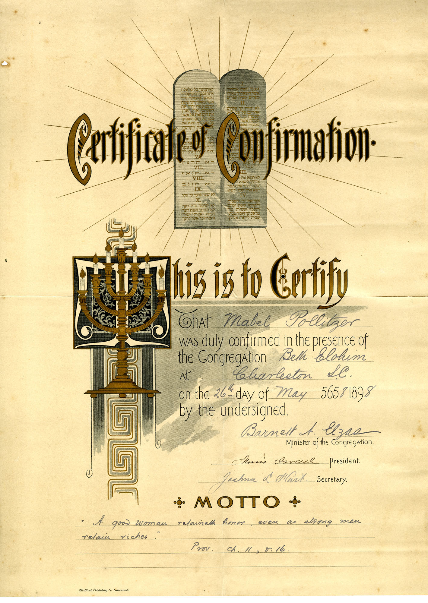 Certificate of confirmation in Beth Elohim congregation to Mabel Pollitzer